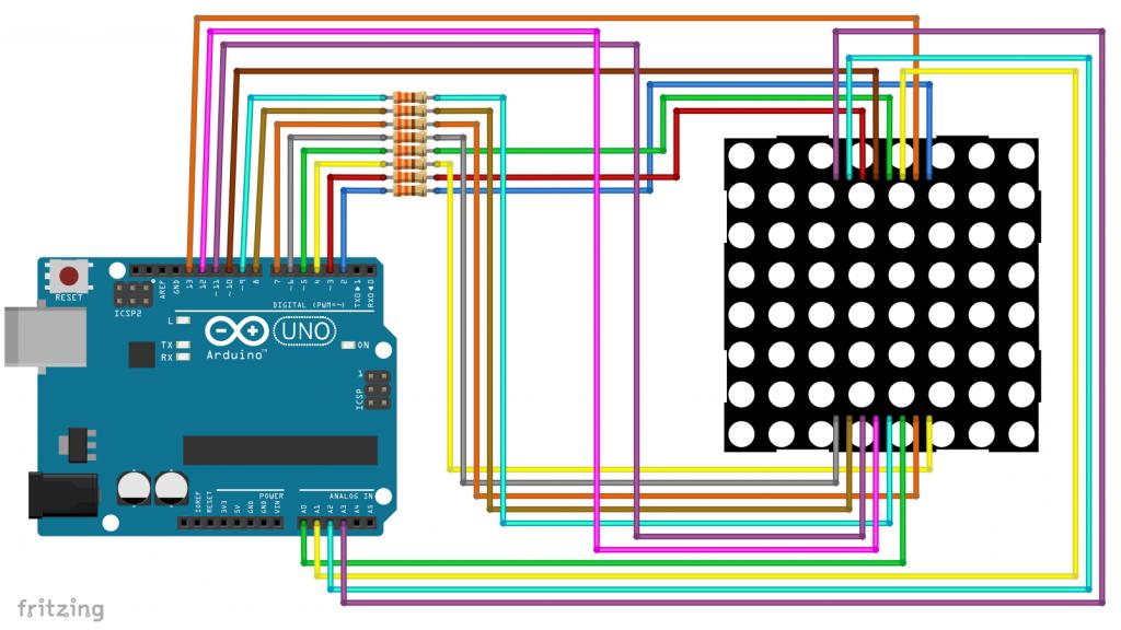 Beschaltung für ein 8x8 LED Matrix Display