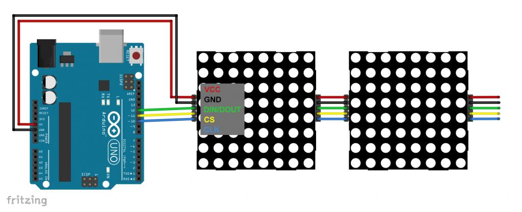 Verkabelung von Displays mit integriertem MAX7219 - auch das Kaskadieren ist einfach