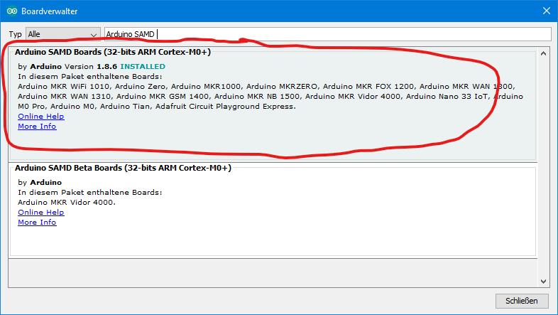 Arduino SAMD Boards im Boardverwalter - Voraussetzung für die Arduino IoT Cloud