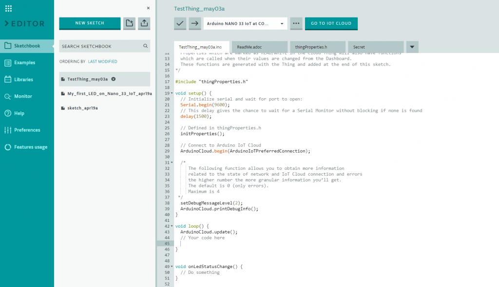 Automatisch generierter Sketch Rumpf für die Arduino IoT Cloud