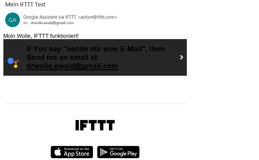 Nachricht von IFTTT - Es hat funktioniert