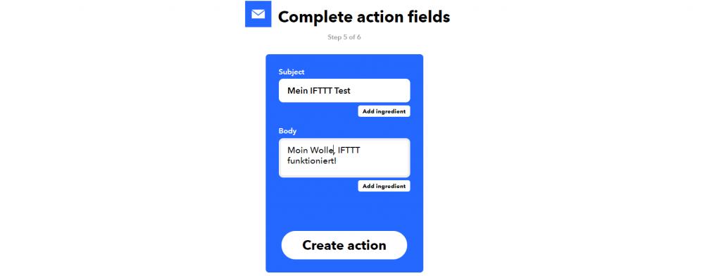 Einstellung der IFTTT Action - hier: E-Mail