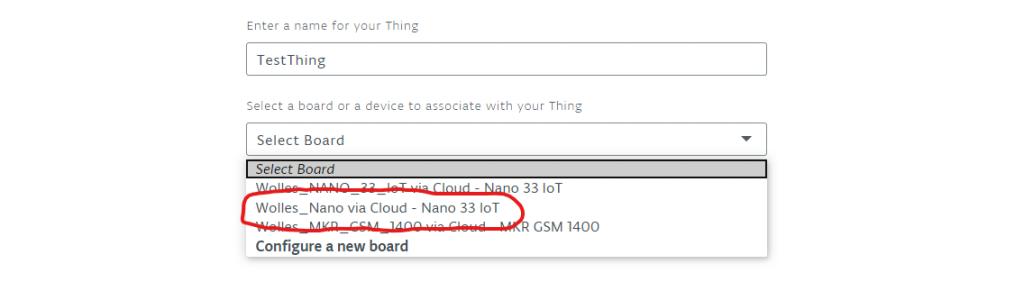 Boardauswahl für die Arduino IoT Cloud