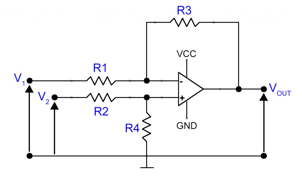 Verstärkerschaltung für den Stromsensor: Differenzverstärker