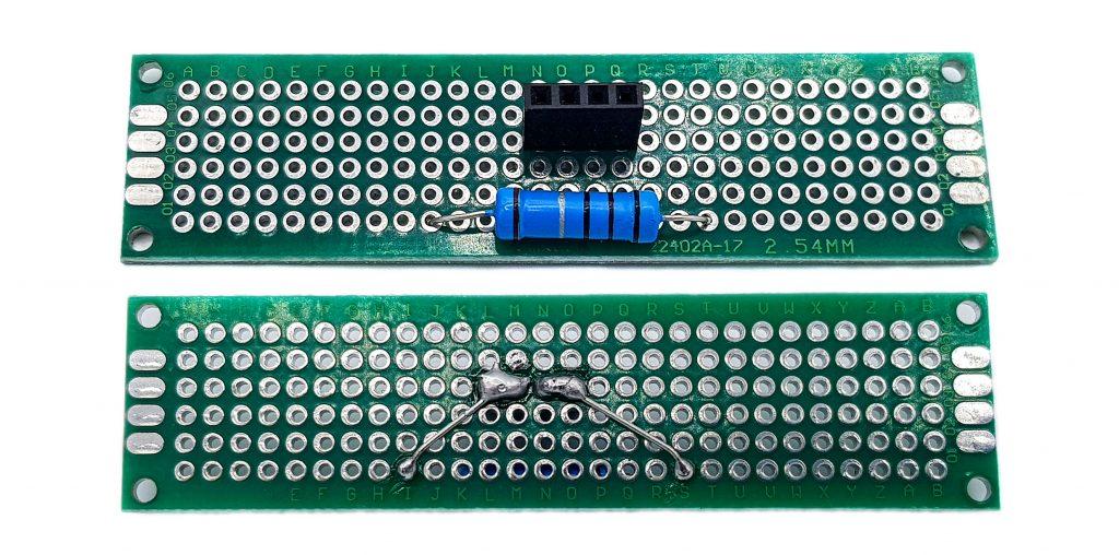 Verbauter Shunt: 2 Stromanschlüsse, 2 Anschlüsse für die Spannungsmessung