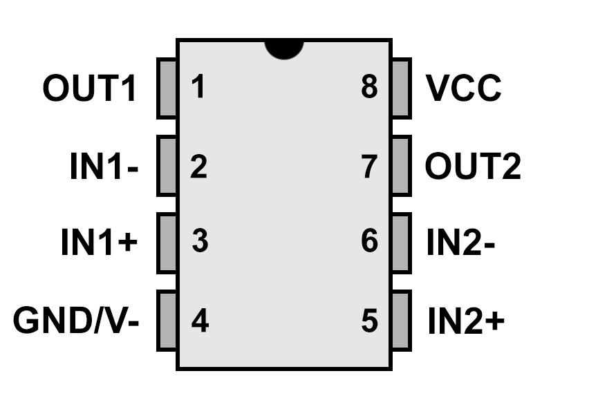 Pinout für den MCP6002, LM358 und TLV2462