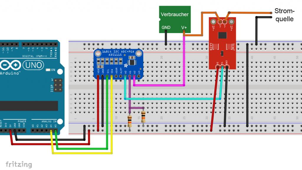 Der ACS712 mit ADS1115 am Arduino