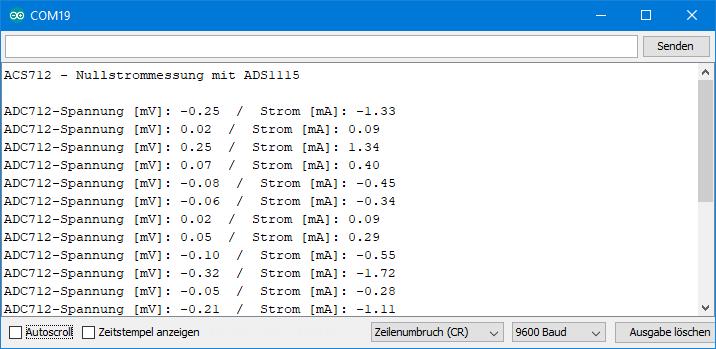 Ausgabe von ACS712_am_ADS1115_Basis.ino bei null Ampere