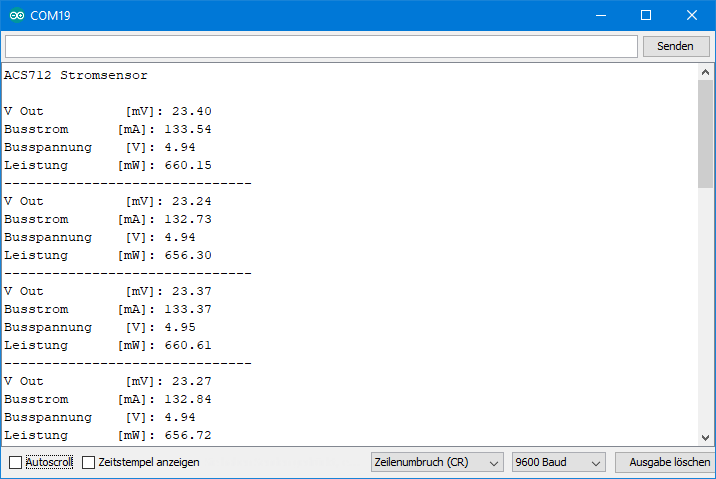 ACS712: Ausgabe von ACS712_Strom_und_Leistungssensor.ino