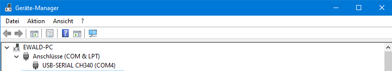 Wemos D1 Miniboard im Gerätemanager