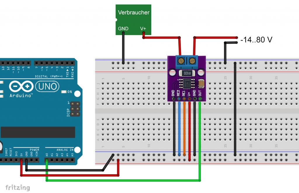 Der INA282 am Arduino UNO (High-Side)
