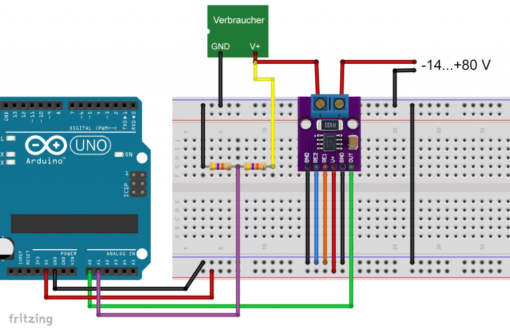 Der INA282 als Strom- und Leistungssensor