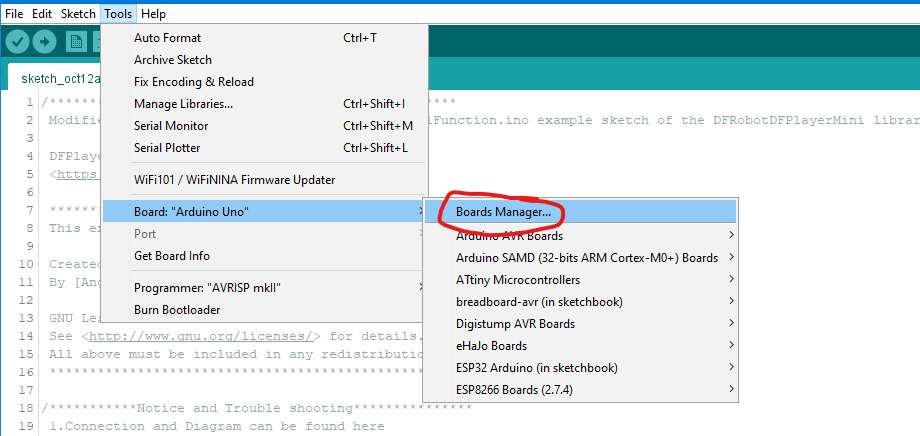 Choosing the right board in the Arduino IDE