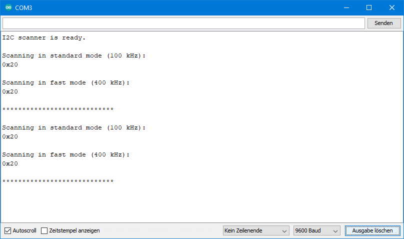 Output of the I2C scanner on the serial monitor