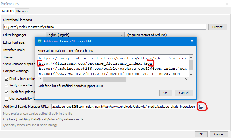 Enter board manager URL for the Digispark in the preferences.