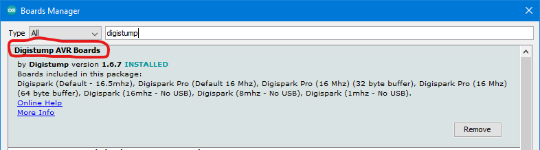 Find and install the right package for Digispark.