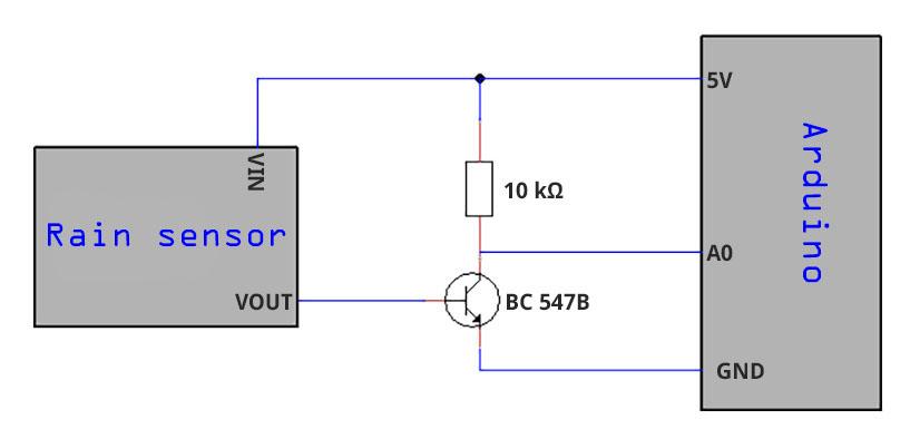 Circuit diagram for the self-built rain sensor