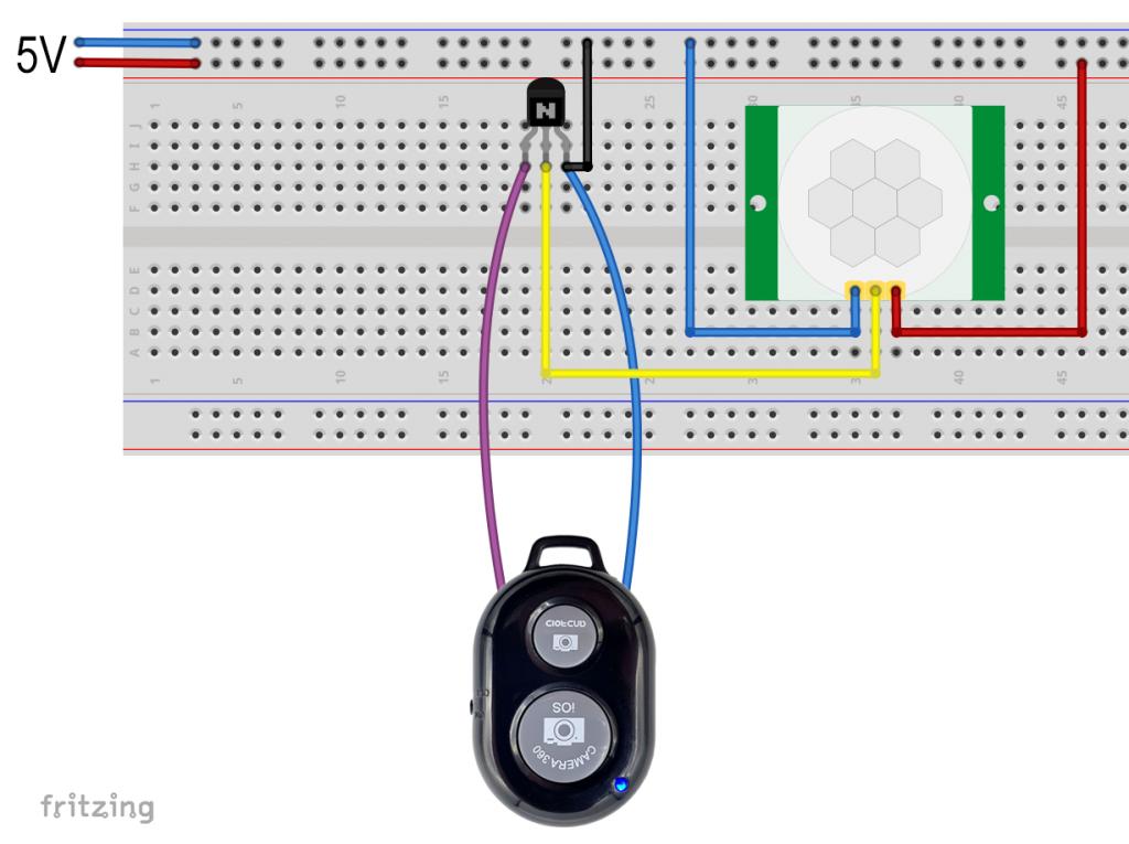 Direkter Fernauslöser Betrieb mit HC-SR501 ohne Arduino