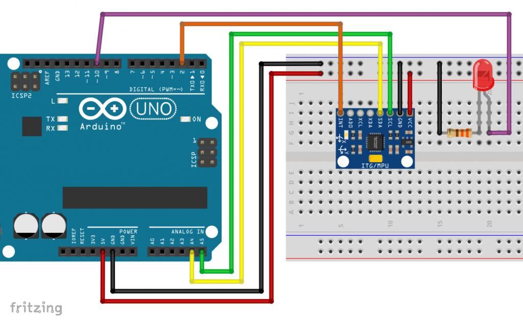 Verkabelung des MPU6050 am Arduino
