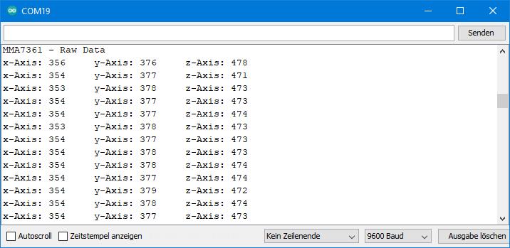 Output of MMA7361_raw_data.ino
