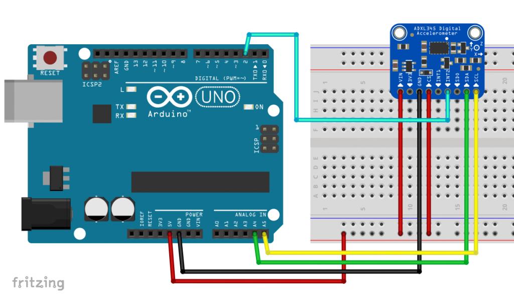 Anschluss des ADXL345 an einen Arduino UNO