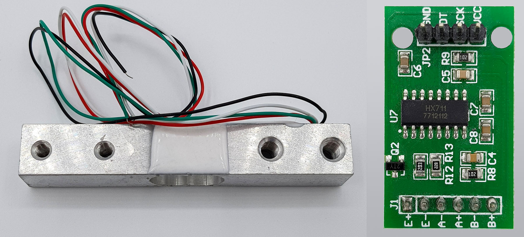 Typical kit of load cell and HX711 module