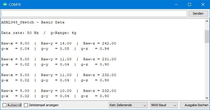 ADXL345 Sketch: Ausgabe von ADXL345_basic_data.ino