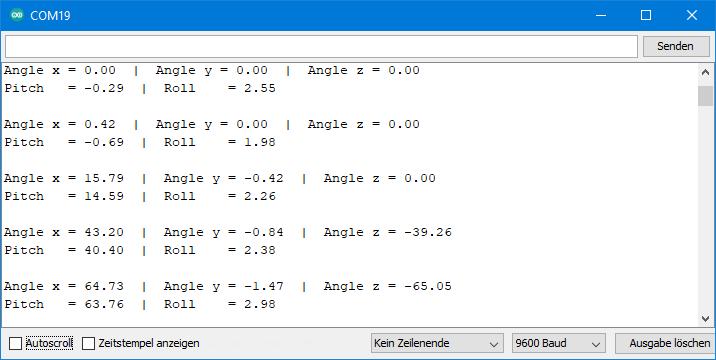 ADXL345 Sketch: Ausgabe von ADXL345_pitch_roll_corrected_angles.ino