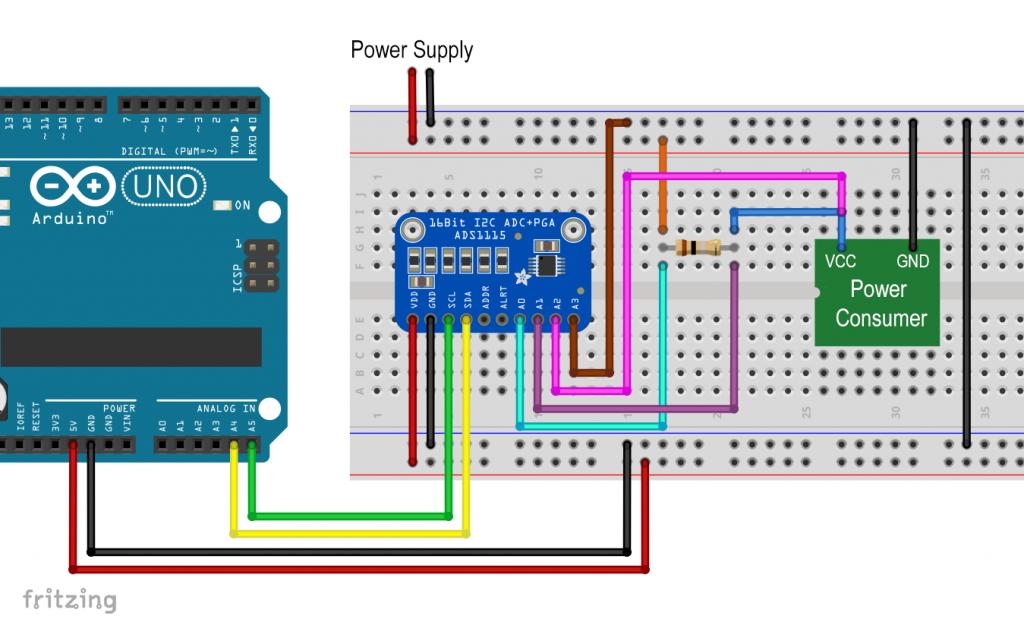 Current sensor based on the ADS1115