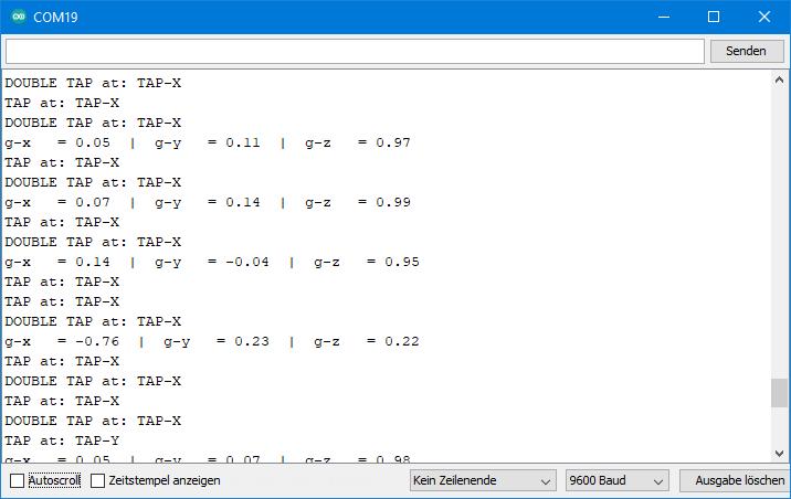 ADXL345 Beispielsketch: Ausgabe von ADXL345_double_tap.ino