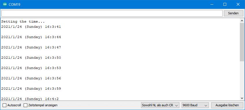 DS3231 Beispielsketche: Ausgabe SetTime.ino