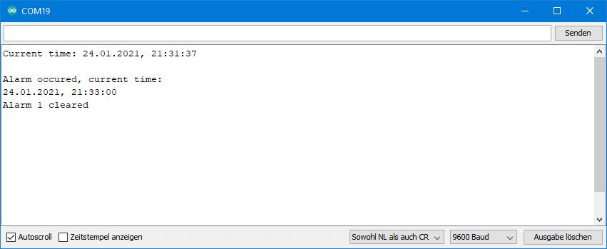 DS3231 Beispielsketche: Ausgabe von DS3231_alarm_fixed_time_and_date.ino