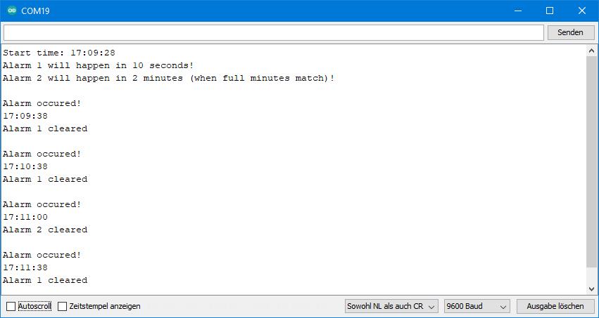 DS3231 Beispielsketche: Ausgabe von ds3231_2_alarms.ino