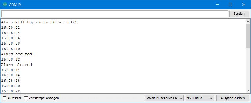 DS3231 Beispielsketche: Ausgabe von ds3231_alarm_10s.ino