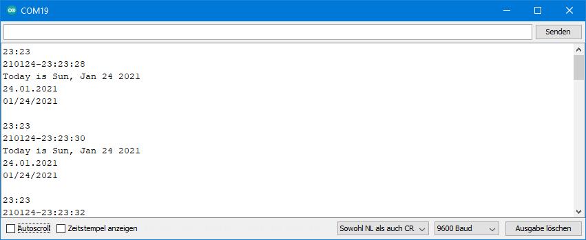 DS3231 Beispielsketche: Ausgabe von toString.ino