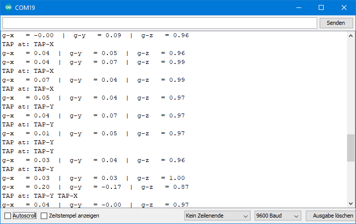 ADXL345 Beispielsketch: Ausgabe von ADXL345_single_tap.ino