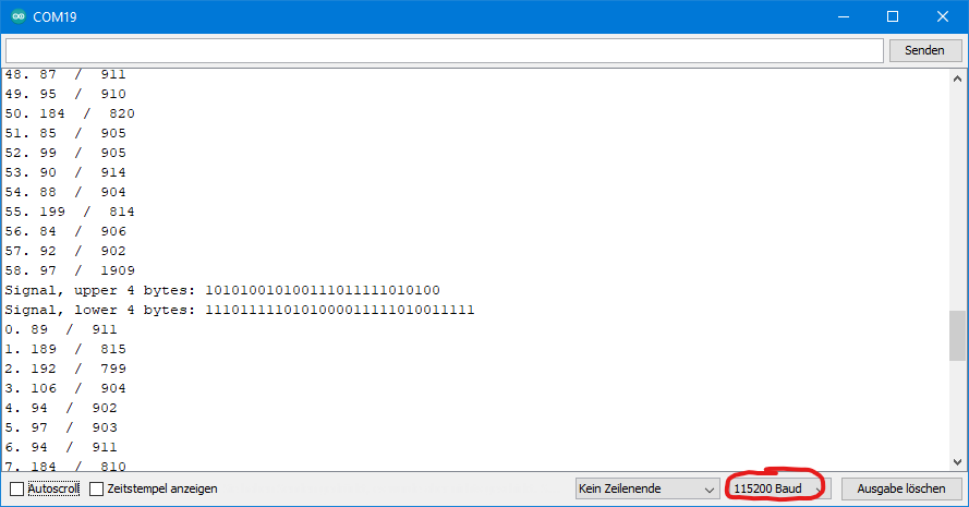 DCF77 Example sketch: Output of dcf77_get_sequence.ino