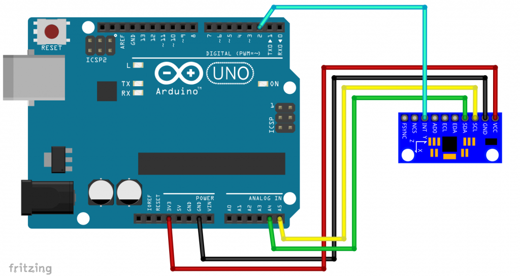 The MPU9250 connected to an Arduino UNO