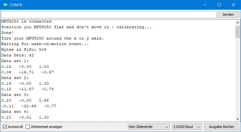 Beispielsketch MPU9250 -  Ausgabe von MPU_9250_FIFO_continuous.ino