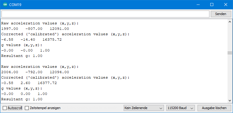 MPU9250 Beispielsketch: Ausgabe von MPU9250_acceleration_data.ino