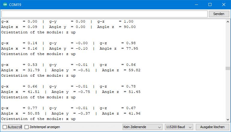 Beispielsketch MPU9250 - MPU9250_angles_and_orientation.ino