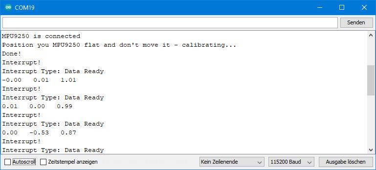 Beispielsketch MPU9250 - Ausgabe von MPU9250_dataready_interrupt_and_cycle.ino