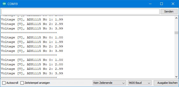 TCA9548A Beispielsketch: Ausgabe TCA9548A_4_channels