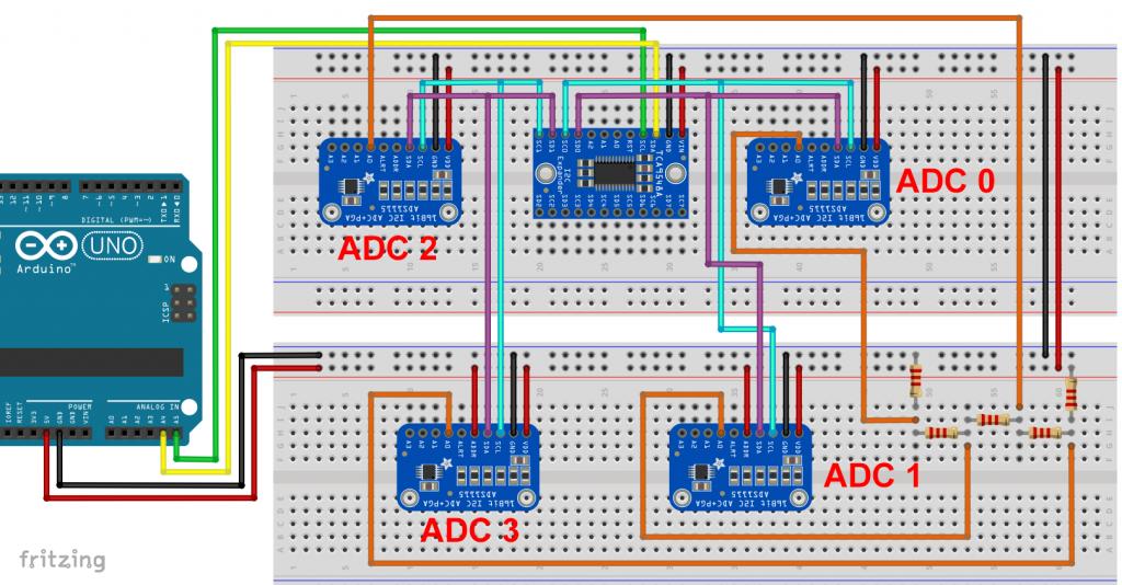 TCA9548A - 2 I2C Kanäle, 4 I2C Geräte