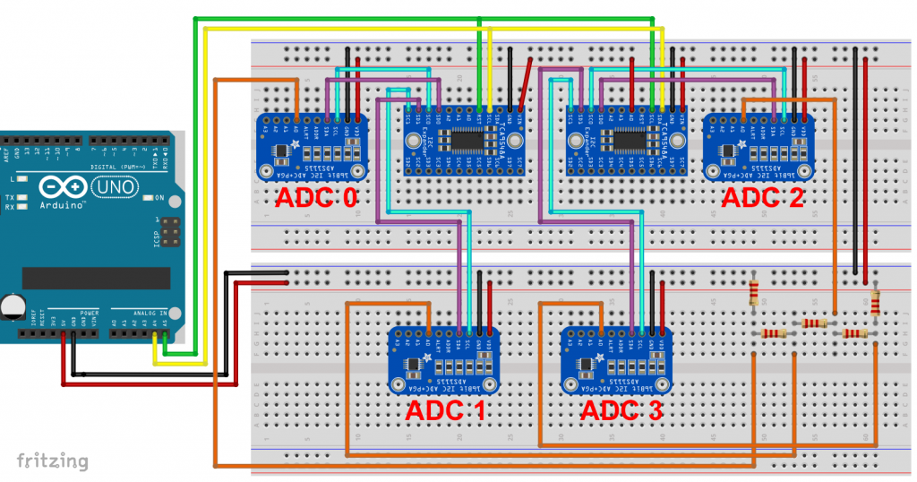 2 TCA9548A - je 2 I2C Kanäle