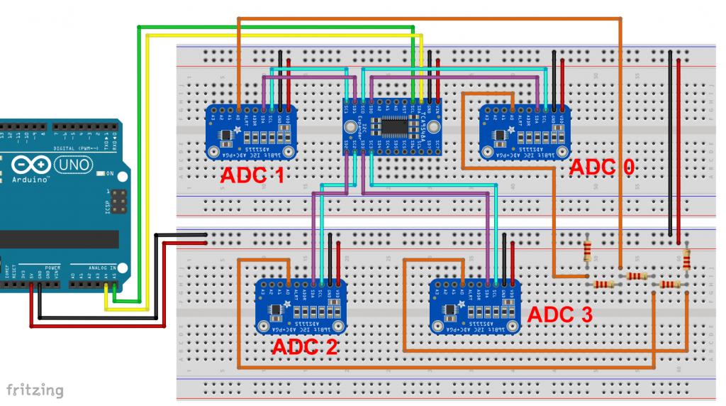 TCA9548A - 4 I2C Kanäle, 4 I2C Geräte