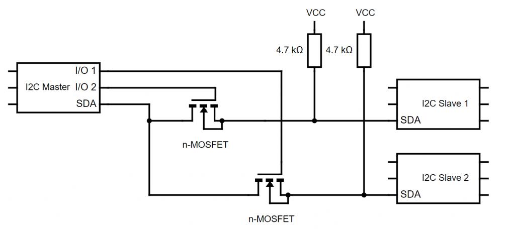 MOSFETs als I2C Multiplexer: I/O 1 und 2 schalten die MOSFETs