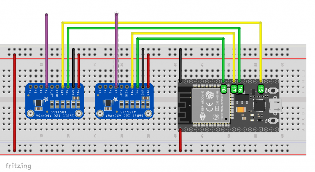 Two ADS1115 attached to freely selected I2C pins