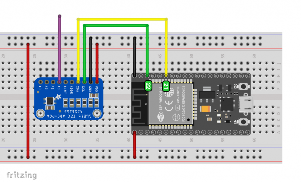 ADS1115 attached to the standard I2C interface of the ESP32