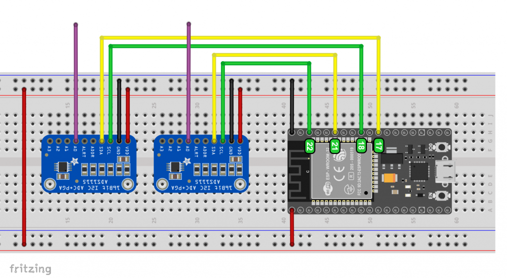 Two ADS1115 attached the default Wire and an additional I2C interface